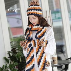 Hairball knit hat scarf and gloves set for winter thick women wear