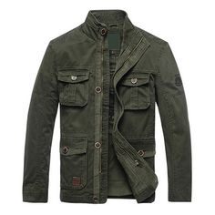 Military Style Casual Outdoor Solid Color Multi-Pockets Slim Fit Stand Collar Jacket For Mensales-NewChic Mobile