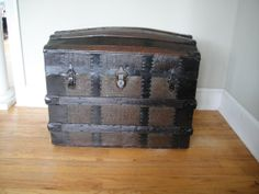 1870's Steamer Trunk  Dome Top Trunk  Barrel by RustyNailDesign, $188.00
