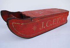Antique Painted Sled Circa American paint decorated sled boasts fabulous cherry red and silver paint decoration. Christmas Sled, Primitive Christmas, Rustic Christmas, Vintage Christmas, Father Christmas, Xmas, Primitive Snowmen, Outdoor Christmas, Christmas Wreaths
