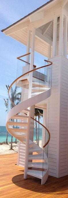 Beach house. Winding staircase. (that is cool!)