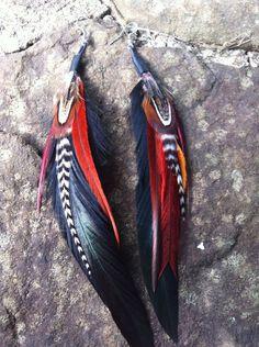 Feather Earrings  Handmade Feather Earrings Women's by heidihaha, $18.00