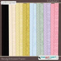 Beauty Digital Scrapbook Embossed Paper Pack at Gotta Pixel. www.gottapixel.net/