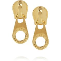 Marc by Marc Jacobs Zip It gold-tone earrings ($58) ❤ liked on Polyvore
