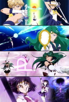 Sailors of the Outer Solar System Sailor Moon Girls, Arte Sailor Moon, Sailor Moon Manga, Sailor Pluto, Sailor Neptune, Sailor Jupiter, Sailor Venus, Sailor Moon Crystal, Cristal Sailor Moon