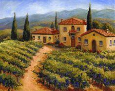 Chianti Village by Joanne Morris Margosian - Tuscan Vineyard Ceramic Tile Mural x Kitchen Shower Backsplash Landscape Prints, Watercolor Landscape, Landscape Paintings, Tuscan Art, Tuscany Landscape, Italian Tiles, Tuscan House, Rustic Colors, Tile Murals