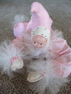 ADORABLE Vintage 50s Satin Bed Doll Clown Pixie Elf