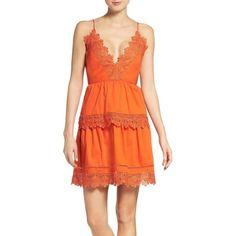 Women's Bardot Sophia Peplum Dress (€110) ❤ liked on Polyvore featuring dresses, clementine, v neck peplum dress, plunge dress, lace plunge dress, orange cocktail dress and v-neck dresses