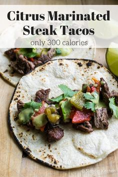 Citrus Marinated Steak and Pepper Tacos - Slender Kitchen