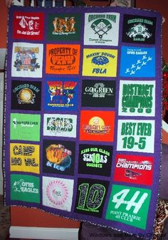 T-Shirt Quilt with flannel backing - Twin size.