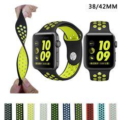 MARCA sport reloj de Silicona banda correa para apple nike 42mm 38mm correa de reloj de pulsera wrist band Para iwatch 2/1 Accesorios