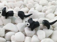 Boucle d'oreille chat noir tres original : Boucles d'oreille par dodie59