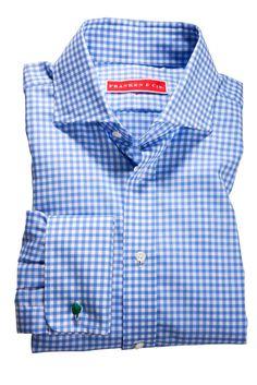 Klassisches Hemd mit Umschlagmanschetten in hellblauem Vichykaro