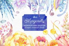 Margaret. Watercolor flowers by OctopusArtis on Creative Market
