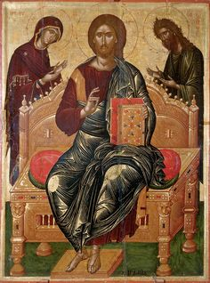Ikonenmalerei: Deesis / Icon by Angelos / Art Print, Canvas on Stretcher Fine Art, Byzantine Art, Art Reproductions, Renaissance Art, Painting, Monastery Icons, Art, Art Icon, Sacred Art