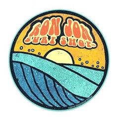 """This durable Ron Jon Groovy Wave Circle Sticker features a sunset over the ocean with """"Ron Jon Surf Shop"""" lettering. Surf Stickers, Red Bubble Stickers, Tumblr Stickers, Phone Stickers, Cool Stickers, Surf Logo, Ron Jon Surf Shop, Homemade Stickers, Aesthetic Stickers"""