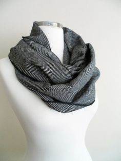 Black Herringbone Infinity Scarf, Infinity Scarves, Warm Scarf, Loop Scarf, Circle Scarf, Winter Fashion
