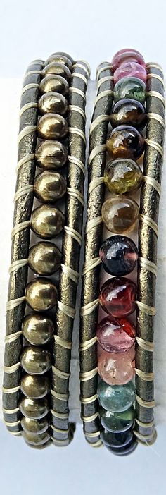 Watermelon Tourmaline and Brass Beaded Gold Leather Bracelet #tourmaline #bracelet