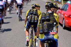 Vuelta a España 2014 - Stage 2: Algeciras - San Fernando 174.4km - Two Tinkoff-Saxo riders with their bidon vests on