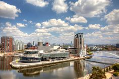Panoramic view of Manchester, UK. Panoramic view of Manchester from Salford Quay , The Smiths, Blackpool, Bournemouth, Gloucester, Bristol, Liverpool, Nottingham Castle, England Top, London Manchester