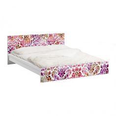 #Möbelfolie für IKEA #Malm Bett niedrig 160x200cm - #Klebefolie Sommerbarock #Hippie #Ethno #Style #Muster #bunte #Farben #Lebensfreude #Wohnstil