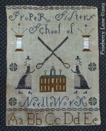 School is Cool with These Back to School Cross Stitch Patterns.: Pineberry Proper Sisters School of Needlework