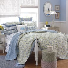 The Carlie Blue Quilt by Laura Ashley brings the vibrancy of a. The Carlie Blue Quilt by Laura Ashley brings the vibrancy of a field in bloom int - King Quilt Bedding, Bedding Shop, Twin Quilt, Queen Quilt, English Country Decor, Country Farmhouse Decor, French Country, Ashley Home, Laura Ashley