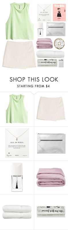 """leaving."" by xo-ashlyn-ox ❤ liked on Polyvore featuring H&M, Marc by Marc Jacobs, Dogeared, Monki, Christian Dior, Frette, Linum Home Textiles and Muji"