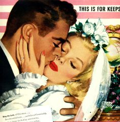 """This Is For Keeps"" ~ Vintage 1946 Christmastime wedding advertisement for Community Silverwear."