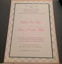 Pocketfold Grey and Pink Wedding Invitations by JJsPersonalTouch, $6.00