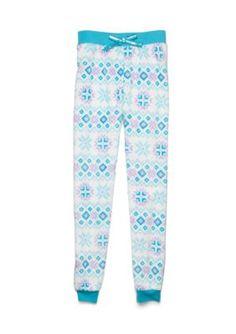 Jellifish Kids Knit Sleep Pants Girls 4-16 - White Fairisle - Xl