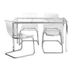 TORSBY/TOBIAS Pöytä + 4 tuolia IKEA Karkaistusta lasista valmistettu kansi on helppo pitää puhtaana.