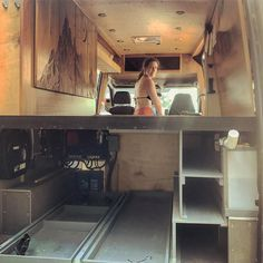 """We took our first pit stop since moving into the van last year. It's looking great after a proper cleaning. Hopefully this bare bones look will answer some questions, like """"Does your bedding get in the way when you open the cabinet doors?"""" We will be driving 50 west all the way to California over the next few weeks. See you out there. #vanlife #cleanse Bus Camper, Camper Life, Vw Lt, Van Living, Camper Conversion, Under Bed, Door Storage, Remodeled Campers, House On Wheels"""