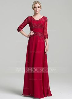 [US$ 147.49] A-Line/Princess V-neck Floor-Length Chiffon Mother of the Bride Dress With Ruffle