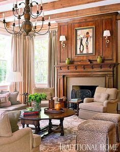Love this fireplace and surround. So warm and inviting