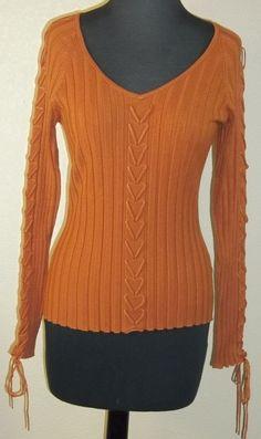 NWT FONTANA viscose blend nutmeg cable knit long sleeve blouse S (T2107C5F) #FONTANA #KnitTop #Casual