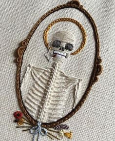 These aren't your grandma's embroidery hoops. @tinycup_ needleworks #skeletal #embroidery #instagramart #wicked #smokingbones #stog