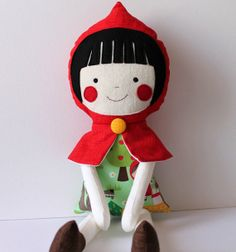 Little Red Riding Hood handmade rag doll. Stuffed toy - gift for girls. I need to learn how to make dolls like this.