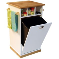 pull out waste bin in cabinet.