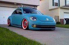 matte blue VW beetle
