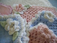 Cotton wash cloths... have made several  of these too- work up beautifully - very soft and romantic- another delight to have at the craft fair