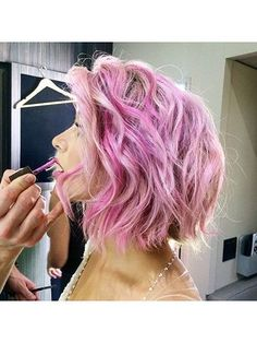 Julianne Hough's curled pink bob | allure.com