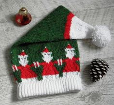 Ravelry: Two Christmas Hats pattern by Natalia Gracheva Christmas Knitting, Christmas Hats, Christmas Stockings, Knit Beanie Pattern, Knit In The Round, Baby Booties, Ravelry, Winter Hats, Merry