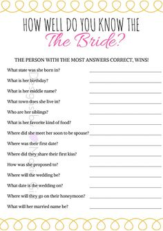 Bridal Shower Game: How Well Do You Know The Bride?   Love this! Cute designs, cusotmizable, digital download, instant download, & fast! https://www.etsy.com/shop/designsbymoxiegirl #bridalshowergames #bridalshower #gaycouple #lesbiancouple #bridalshowerideas #wedding #games #game #showergames #bridalshowergames #etsy #etsyshop #cheap #lowprice #affordable #deal #deals #coupon #bridalshowerideas #wedding #bridalshowergame #howwelldoyouknowthebride