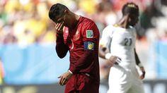 Cristiano Ronaldo de Portugal se lamenta en el partido frente a Ghana. (REUTERSUeslei Marcelino)