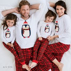 Festive fun at home starts with pjs for the whole family! Momma, Daddy & Mini (kids) Penguin Pajama Set Long-sleeved Penguin graphic tee Matching plaid flannel pants with elastic waistband Family Pjs, Family Christmas Pajamas, Christmas Shirts, Avon Fashion, Matching Pajamas, Personalized T Shirts, Casual Elegance, Plaid Flannel, Pajama Set