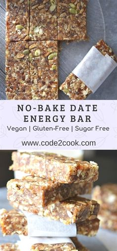 Recipes Snacks Vegan These no-bake date energy bar are loaded with natural ingredients like dates, walnut, almonds, and nuts like pumpkin seeds and sunflower seeds. Being no-bake, they require very less time to prepare…More Healthy Bars, Healthy Vegan Snacks, Healthy Baking, Healthy Desserts, Healthy Drinks, Healthy Energy Bar Recipes, Energy Snacks, Healthy Protein, Vegan Snacks On The Go