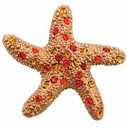Golden Brown Crystal Blue Starfish Pin Brooch