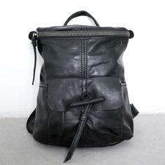 Casual Zipper Leather Women Black Backpack