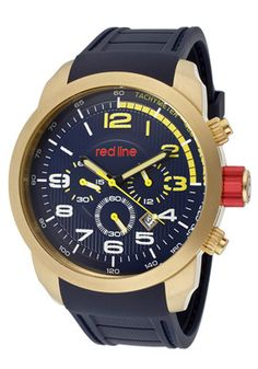 Red Line 60004 Watches,Men's Overdrive Chrono Navy Blue Dial Gold Tone IP Case Navy Blue Rubber, Men's Red Line Quartz Watches